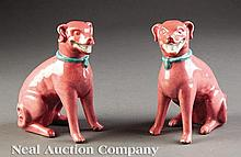Chinese Export Pink Glazed Porcelain Hounds