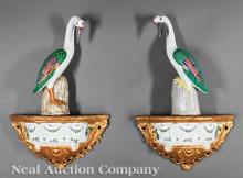 Pair of Polychrome Pottery Wall Brackets