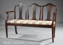 Antique Italian Neoclassical Carved Walnut Settee