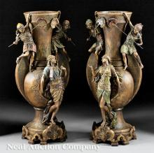 Pair of French Orientalist Urns