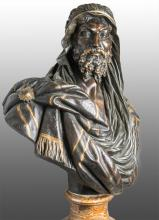 French Patina and Gilt Bronze Bust