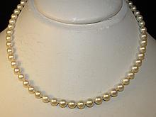 SINGLE KNOTTED PEARL & 14K WHITE GOLD NECKLACE