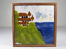 SMALL FRAMED PAINTED TILE SIGNED