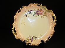 COIFFE LIMOGES FLORAL HAND PAINTED PORCELAIN PLATE