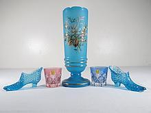 ASSORTED COLORED GLASS: OPALINE, CUT, ETC.