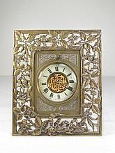 19TH C PIERCED BRASS DESK CLOCK