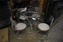 Glass Top Modern Dining Table and (4) Chairs
