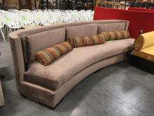 Semi Round Upholstered Sofa, Throw Pillows