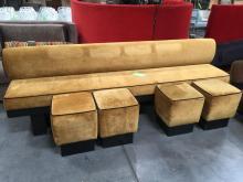 Gold Hall Sofa w/ 4 Stools