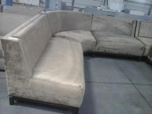 Long Cornered Upholstered Light Gold Couch 2pieces
