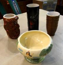 Lot of 4 Tiki Mugs/ Bowl