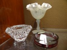 France Milk Glass Cup, Crystal Bowl, & Ashtray