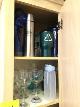 Contents of Cabinet including Misc Cups and Coffee Mugs