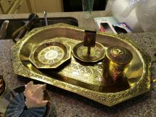 Brass Elephant Tray and Dishes