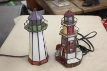 (2) Stained Glass Light House Lamps