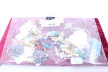 Bag of Vintage Costume Jewelry with Display