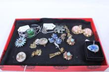 Tray of Silver & Costume Jewelry