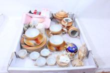 Antique Box Lot: Japanese Tea sets, Dolls &