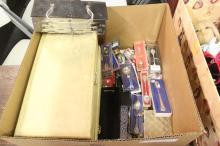 Box of Costume Jewelry, Cameras, Silverware, Decor