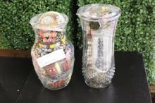 2 Glass Vase Full of Costume Jewelry