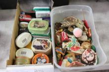 2 Boxes of Vintage Tins and Magnets