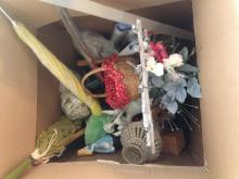 Box of misc. Home Decor and Office Supplies