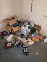 Contents of Corner 1 - Holiday Decorations and Vintage Tupperware Brand Storage, Pots and  Pans