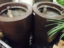 Lot of (2) 2' x 4' Brown Planters (EMPTY)