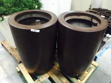 Lot of (2) 2' x4' Brown Planters (EMPTY)
