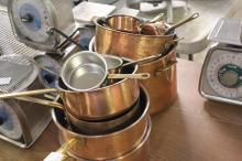 (14) Copper Plated Kitchen Pots & Pans