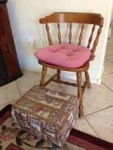 Wood Sitting Chair With Cushion and Foot Rest