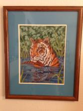 Framed Stitched Picture of Tiger