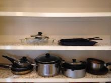Shelf Lot of Pots, Pans, & Glass Dishes