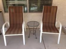 2 Patio Chairs and Side Table