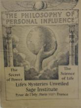 EXTREMELY RARE:  THE PHILOSOPHY OF PERSONAL INFLUENCE-SAGE INSTITUTE PARIS