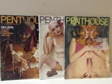 LOT OF 3 VINTAGE PENTHOUSE MAGAZINES - 1974 - JULY, AUGUST, SEPTEMBER