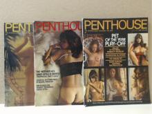 LOT OF 3 VINTAGE PENTHOUSE MAGAZINES - 1974 - MAY, JUNE, MARCH