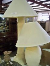 Floor Lamp & Table Lamp With White Shades