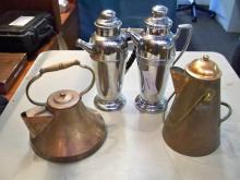 Copper Teapots & Chrome Coffee Pots