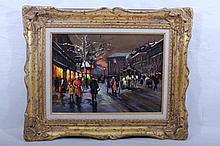 Oil on Canvas Paris Street Scene by EDOUARD LEON CORTES