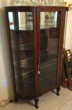 Oak China Cabinet Curved Sides Circo 1890 Pawp