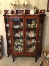 English Oak Display Cabinet With Carved Galley 2 D