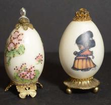 Pair of Hand Painted and Jewelled Decorative Eggs