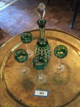 Bohemian Cut Green to ClearåÊDecanter Set