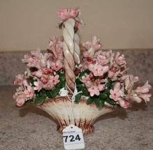 Napoli Capidomonte Porcelain Flower Basket