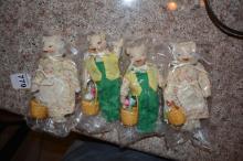 Group of 4 Porcelain Pig Ornaments