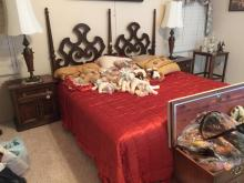 King Size Ornate Wood Bed Frame, Mattress and Box