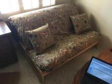 Blonde Wood Futon With Map Print Cushion