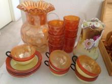 Lot of Circus Glass and Malmaison Vase