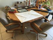 Oak Kitchen Table & 4 Rolling Chairs